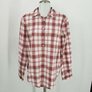 J Crew Plaid Gauze Popover Shirt Boy Fit Red Pink